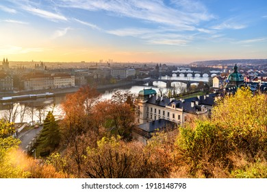 Prague Bridges over Vltava River in sunny autumn morning. View from Letna Gardens, Prague, Czech Republic - Shutterstock ID 1918148798