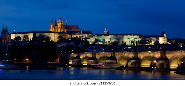 Prague Castle and Charles Bridge in dusk