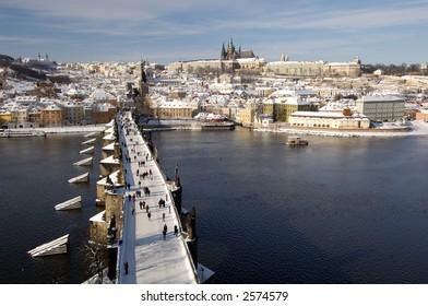 Prague Castle and Charles Bridge over river Vltava, Prague, Czech Republic