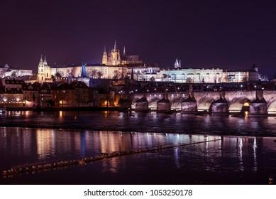 Prague castle and Charles bridge panorama, Czech republic