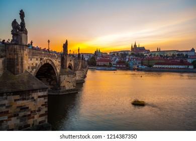 Prague castle and Charles bridge at sunset, Czech republic.