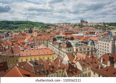 Prague Castle and Prague city view taken from Old Town Hall