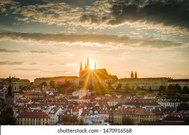The Prague Castle complex, the largest ancient castle in the world and the most visitedtourist attractionsin Prague, Czech Republic.