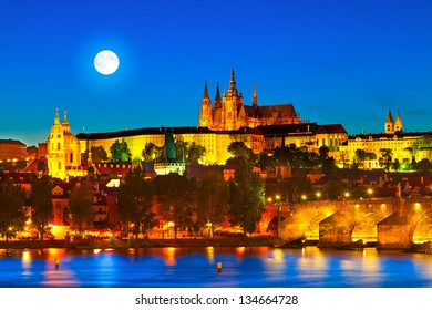 """Prague Castle in the evening (Czech Republic). Prague is often called """"the Golden City""""."""