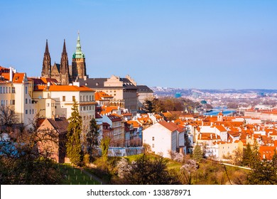Prague castle and Lesser Town red roofs scenery