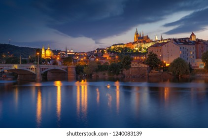 Prague Castle and manes bridge in Czech Republic at the sunset. Typical Panorama