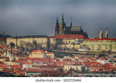 Prague castle as nice landscape from czech republic