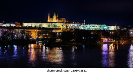 The Prague Castle in the night
