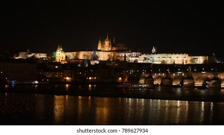 Prague Castle in the night