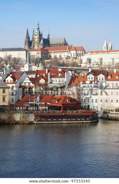 Prague castle with the old town and the Vltava river