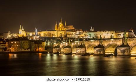 Prague castle over Charles bridge and river Moldau, Czech republic
