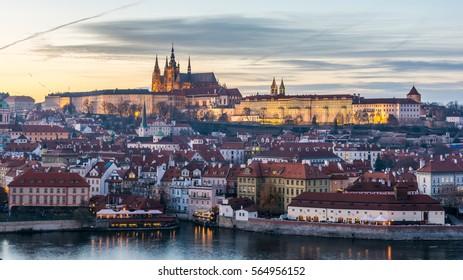 Prague castle over river Moldau, Czech republic