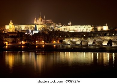 Prague Castle from river at night in winter