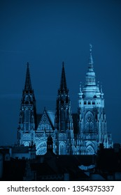 Prague Castle with Saint Vitus Cathedral in Czech Republic at night.