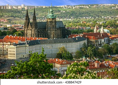 Prague Castle and Saint Vitus Cathedral, Czech Republic. Panoramic view
