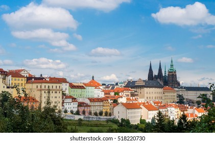 Prague Castle and Saint Vitus Cathedral, Czech Republic. Panoramic view from park on hill