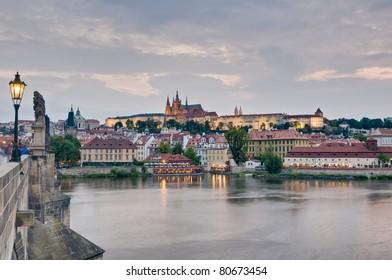 Prague Castle as seen from Charles bridge over Vltava River