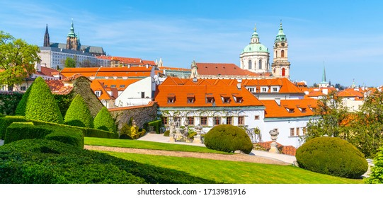 Prague Castle and St Nicholas Church in Lesser Town of Prague. Sunny spring day view from Vrtba Garden. Prague, Czech Republic. - Shutterstock ID 1713981916