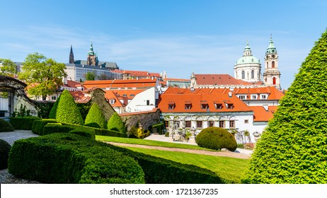 Prague Castle and St Nicholas Church in Lesser Town of Prague. Sunny spring day view from Vrtba Garden. Prague, Czech Republic. - Shutterstock ID 1721367235