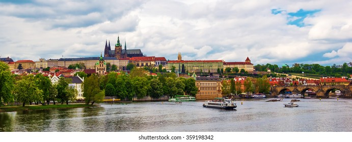 Prague Castle and St. Vitus Cathedral over the river Vltava in spring, Czech Republic
