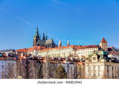Prague castle with St. Vitus Cathedral, Czech Republic