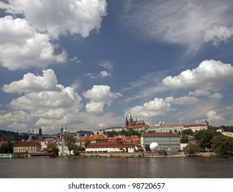 Prague Castle with St. Vitus Cathedral and Vltava River