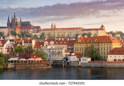 Prague castle in sunrise with beautiful vanilla sky , Prague, Czech Republic