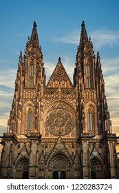 Prague Castle at Sunset - Czech republic. Front view. Main entrance to the St. Vitus cathedral