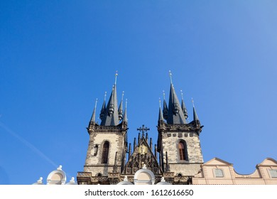 Prague Cathedral seen from below, in Old Town. Also called The Church of Mother of God before Tyn, or chram matky bozi pred tynem, it is a major landmark of the Czech capital.   - Shutterstock ID 1612616650