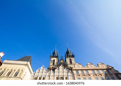 Prague Cathedral seen from below, in Old Town. Also called The Church of Mother of God before Tyn, or chram matky bozi pred tynem, it is a major landmark of the Czech capital.   - Shutterstock ID 1638045976