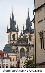 Prague Cathedral seen from below, in Old Town. Also called The Church of Mother of God before Tyn, or chram matky bozi pred tynem, it is a major landmark of the Czech capital.   - Shutterstock ID 1729133863