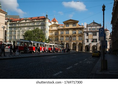 Prague Central with colorful buildings