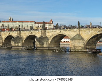 Prague - Charles bridge and castle with tourists