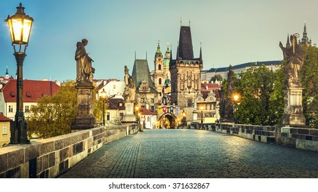 Prague, Charles Bridge at dawn; Czech Republic