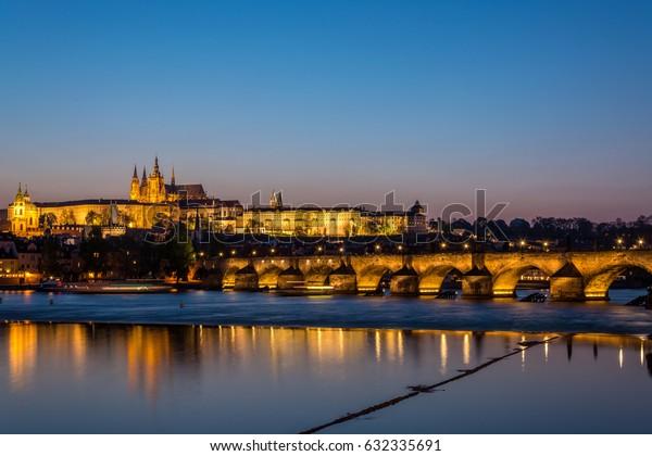 Prague and Charles Bridge during blue hour