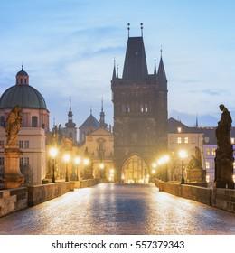 Prague Charles Bridge early morning view