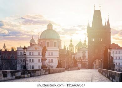 Prague, Charles Bridge (Karluv Most) in the morning sun, Czechia