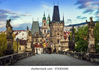 Prague, Charles Bridge in the morning; Czech Republic