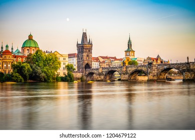 Prague - Charles bridge at sunrise, Czech Republic