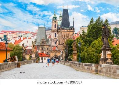 Prague - Charles bridge, tower, the Church of St. Nicholas, Czech Republic