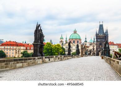 Prague - Charles bridge, tower, the Church of St. Francis, Czech Republic