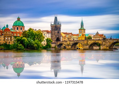Prague - Charles bridge with water reflection,Czech Republic