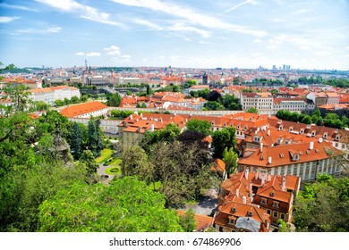 Prague, Chech Republic. aerial view of Prague panorama with blue sky