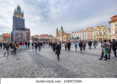 Prague, Chequia - march 10, 2018 - View of old town Square, (Staroměstské náměstí) full of tourists