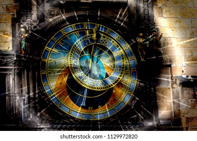 Prague chimes or eagle clock (Czech Prazsky orloj, also Czech Staromestsky orloj) with night star effect .The medieval clock tower, mounted on the south wall of the Old Town Hall tower