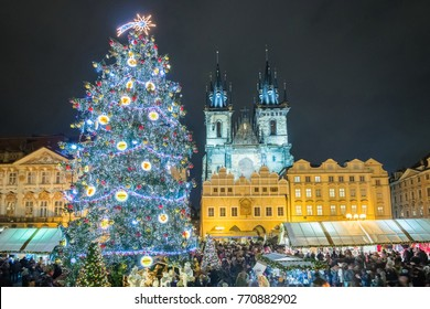 Prague Christmas Tree and Markets on the Old Town Square in the Czech Republic.