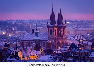 Prague church in morning light. Prague in winter.