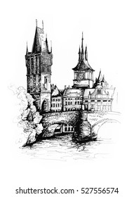 Prague city Czech Republic architectural ink drawing