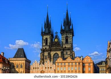 Prague city, Czech Republic. Old town, Staromestska square, Church of Our Lady Tyn.