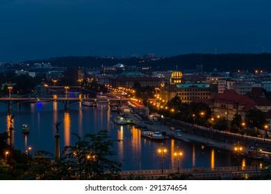 Prague city in the night